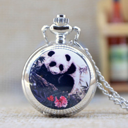 Wholesale New Fashion Silver Elegent Lovely Panda with Mirror Case Quartz Pocket Watch Analog Pendant Necklace Mens Womens Gifts P357