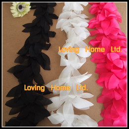 """Cosiendo flores 3d en Línea-5 yardas 4.5 """"Negro / Blanco / Rojo tela del ajuste 3D pétalos de la flor de la hoja de la gasa de cal del cordón de costura del ajuste del acoplamiento Para la venda de los zapatos de novia"""