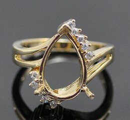Free Shipping 13X9mm Heart Shaped Cut Diamond 14k Yellow Gold Engagement Semi Mount Ring(N014)