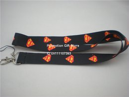 Wholesale Drop Shipping 35PCS Lot Superman Polyester Lanyard, Cell Phone Strap With Metal Clip, 90cm Long 2Colours