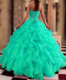 Wholesale 2015 New Turquoise Quinceanera Dresses Ball gown Sweetheart Beads Crystals Ruffles Floor Length Prom Gowns Sweet