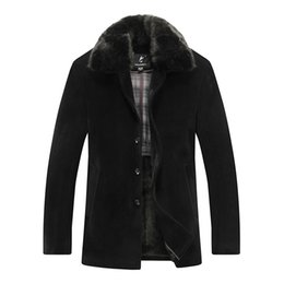 Fall-Stylish Winter Middle Aged Men's Thicken Fur Collar Black Woolen Coat With Fleece Man Woolly Classical Single-Breasted Overcoat