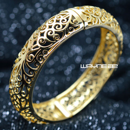 18k yellow Gold GF Vintage style diamond cut solid womens bangle Bracelet G97