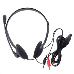 Wholesale PC Microphone Headphone Headset MSN Skype Talk XTY mm Black Color Drop Shipping
