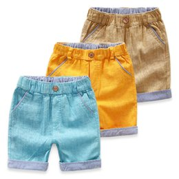 Wholesale-Foreign trade clothing stripe candy colored cotton Summer Shorts flanging boy boy flanging casual shorts