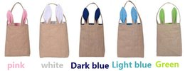 DHL Free 5 Colors Fine Design Easter Bunny Ears Handbag Jute Cloth Material Easter Gift Packing