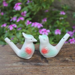 Wholesale Glazed Ceramic Bird whistle Cardinal Vintage Style Water Warbler musical instruments Toy drop shipping
