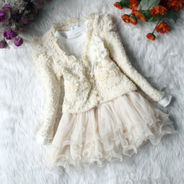 Beige Girl's Clothes Sets Lace Girl TUTU Dresses Jacket Coats Bling Pearl Floral Children Cardigan Outfits Dress Suit Wholesale