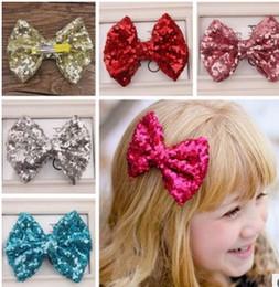 Fille accessoires pour cheveux clips à vendre-12cm enfants paillettes HairBow, Baby Hairbows fille cheveux arcs avec clip enfants cheveux accessoires A6827