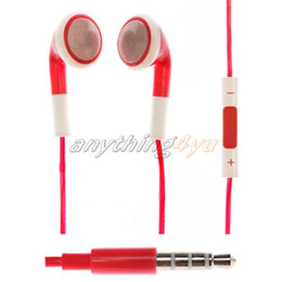 Wholesale-ON Earphone Headset Headphone With Mic Microphone Volume Control for  4 4S