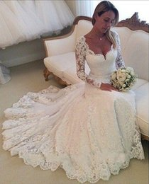 2015 Wedding Dresses Long Sleeves Lace Wedding Gowns Mermaid Sweetheart Appliques Vintage Bridal Dresses Cheap Prom Dresses 2016 new style