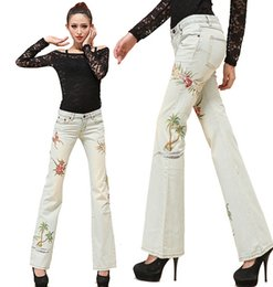 Wholesale High Quality National Embroidered Pants For Women Bell bottom Jeans White Boot Cut Trousers For Slim Ladies women pants