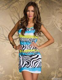 New 3 Color Sexy Zebra Leopard Geometric Print Mini Dress Sexy Night Club Wear Lady Slim Casual Dresses Orange Pink Blue MN124