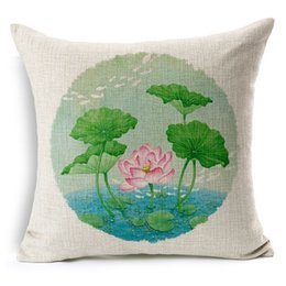Wholesale Beautiful Flowers Butterfly Cotton Linen Throw Pillow Covers Pillowcase Decor Cushion Slipcovers Square x18 Inch ZT004