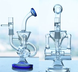 Real Picture New double recycler glass water pipe glass pipe glass bong Two Colors Clear And Blue Disk Glass smoking pipes