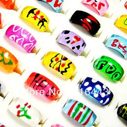 Loverly 50pcs Top Resin Mix Fashion Hand Printed Children Rings Wholesale Jewelry Lots Free Shipping A-081