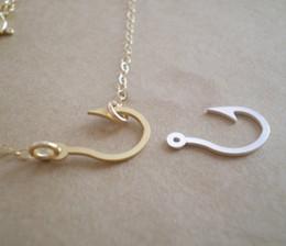 10PCS- N002 Gold Silver Maori Awaiian Fish Hook Necklace Captain Hook Necklace Crafts Fishhook Necklace fishing Hook Necklaces