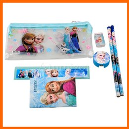 Wholesale Frozen stationery set for Students Office School Supplies Frozen Cases Bag book pencils Ruler eraser sharpener bag