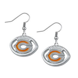 Wholesale New Arrivala Single Sided Rhodium Plated Sports Team Logo Enamel Orange Pendant Women Earrings Pairs