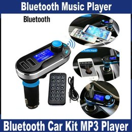 Wholesale Best Bluetooth Car Kit Handsfree MP3 Player With FM Transmitter Dual USB Car Charger Support SD Line in AUX Free DHL Shipping OM T66