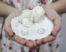 Wholesale Delicate Handmade S M L Seastar Pearl Rhinestone Natural Seashell Ring Holders cm cm cm Ring Pillows Beach Wedding Favors