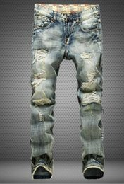 men jeans,Retro patch the hole patch jeans,popular Hole skinny Straight jeans Beggar pants ,953
