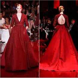 2016 Elie Saab Dress Evening Gowns Long Sleeve Deep V neck Backlesses Applique Baeded Red Formal Dresses Evening