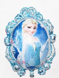 Wholesale Frozen Princess Elsa Anna Aluminum Blowing Balloon For Children Days Party Decoration Latest cartoon modelling empty mirror snow princess