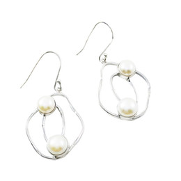 Fantastic creation irregular silver earrings with double sided pure freshwater pearl 925 silver earrings for E6474