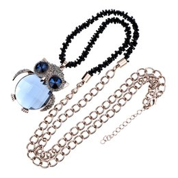 Romacci Fashion Shinning Light Blue Owl Pendant Collar Chain Necklace Jewelry Long chain Cute OWL necklace