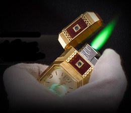 Wholesale Most popular creative watch inflation green flame lighters smoking cigarettes lighter as high gift