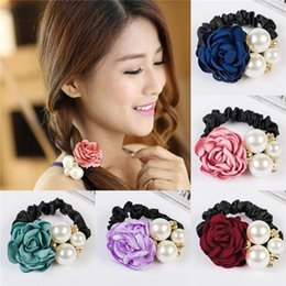 Wholesale New Arrivals Women Lady Hair Ring Satin Ribbon Accessories Hairband Ponytail Holder Fabric Faux Pearls Flower Elegant EA44