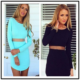 Party Dress Prom Dress 2015 Dresses Celebrity Dresses Black Sexy Two-pieces Bodycon Perspective Skirt Set Party Dresses long sleeves 8027#