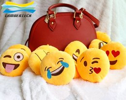 Wholesale 10cm cm Soft Emoji Smiley Emoticon Yellow Round Cushion Pillow Stuffed Plush Cushion plush Emoji Keychain Toys Newest