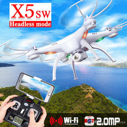 Wholesale Syma X5SW RC Helicopters Quadcopter FPV Explorers II Gyro G Axis Channels UFO M Pixel Drone Cameras Wifi Transmit UVA LED X5SW