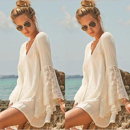 Wholesale Women Vintage Hippie Boho Bell Sleeves Gypsy Festival Holiday Lace Mini Dress