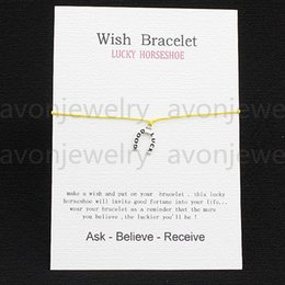 Wholesale 2016 hot sale Lucky horseshoe ancient silver String bracelet gift Card with Friendship Charm Wish bracelet girls fashion