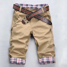 Wholesale-2015 New Summer Style Shorts Mens Cargo Shorts Five Pants Plaid Hem Pocket Casual Short Pants For Man Beach Pants
