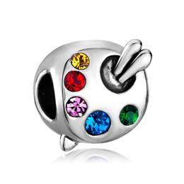 Fashion women jewelry bracelet European style Artist's Palette Paintbrush spacer beads metal loose charms for bracelets