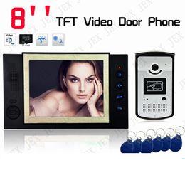 """Systèmes d'interphone de portier vidéo en Ligne-Enregistrement vidéo prise de photo Home Security 8 """"TFT vidéo porte téléphone Sonnette entrée intercom système"""