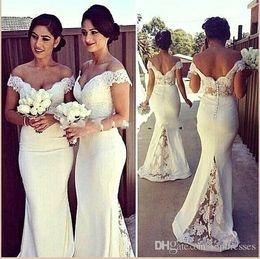2018 Elegant Long Formal Bridesmaid Dresses Cheap Lace Topped Off Shoulders Mermaid Sweep Train Button Back Bridesmaid Dresses Cheap Gowns