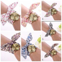 100x Beautiful Dress Watch Women Ladies wathes Quartz Flower Cloth Brand Reloj Floral Fabric Band Watch