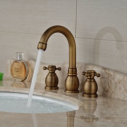 Wholesale And Retail Brand NEW Antique Brass Bathroom Sink Faucet Cross Handles Tall Spout Vanity Sink Mixer Tap