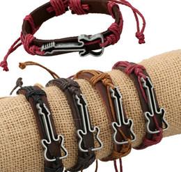 Wholesale Genuine Leather Bracelets Hollow Guitar Charm Bracelet for Women Men Friendship Bracelets Fine Jewelry Christmas Gift HJIA005