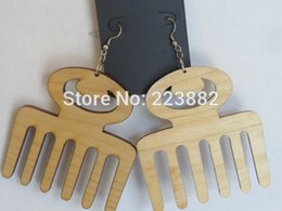 Wholesale 5pairs unfinished Afro Pick Wooden Earrings