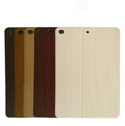 Wholesale Smart Cover Ipad Wood - Wholesale ipad pro wood grain leather case ipad mini2 3 iPad Air 2 iPad 2 3 4 pu leather folio flip case thin smart cover