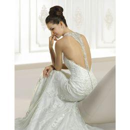 2019 Newest Honorable Mermaid Halter Wedding Dresses Beading Crystal Lace Sweep Brush Train Tulle Bridal Dresses Vestidos De Novia Cheap