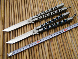 Wholesale THE ONE Halo blade Butterfly Balisong knife C Tanto Blade Die cast stainless steel handle with nylon sheath