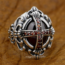 Goth Big Red CZ Stone Cross 925 Sterling Silver Gothic Punk Rock Mens Ring 9D005
