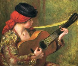 Wholesale Beautiful Woman oil painting by Pierre Auguste Renoir Young Spanish Woman with a Guitar hand painted High quality
